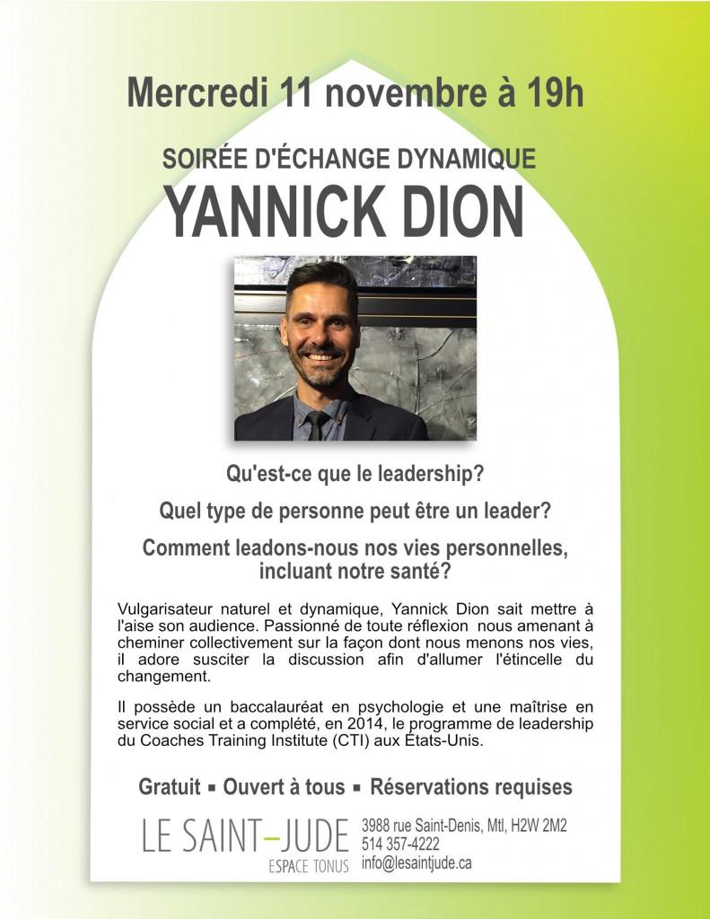 SOIRÉE D'ÉCHANGE DYNAMIQUE – YANNICK DION 11 NOVEMBRE